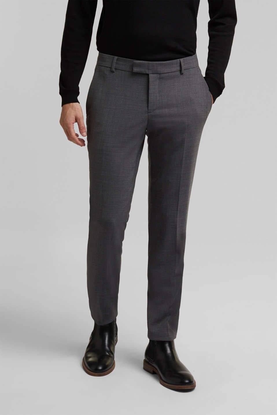 ACTIVE SUIT BLACK trousers made of blended wool, DARK GREY 5, detail image number 0