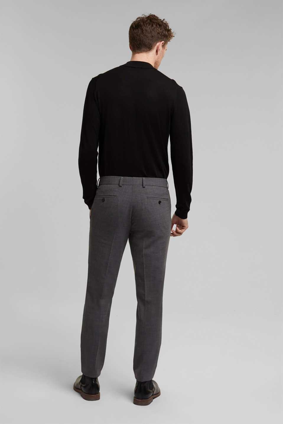 ACTIVE SUIT BLACK trousers made of blended wool, DARK GREY 5, detail image number 1