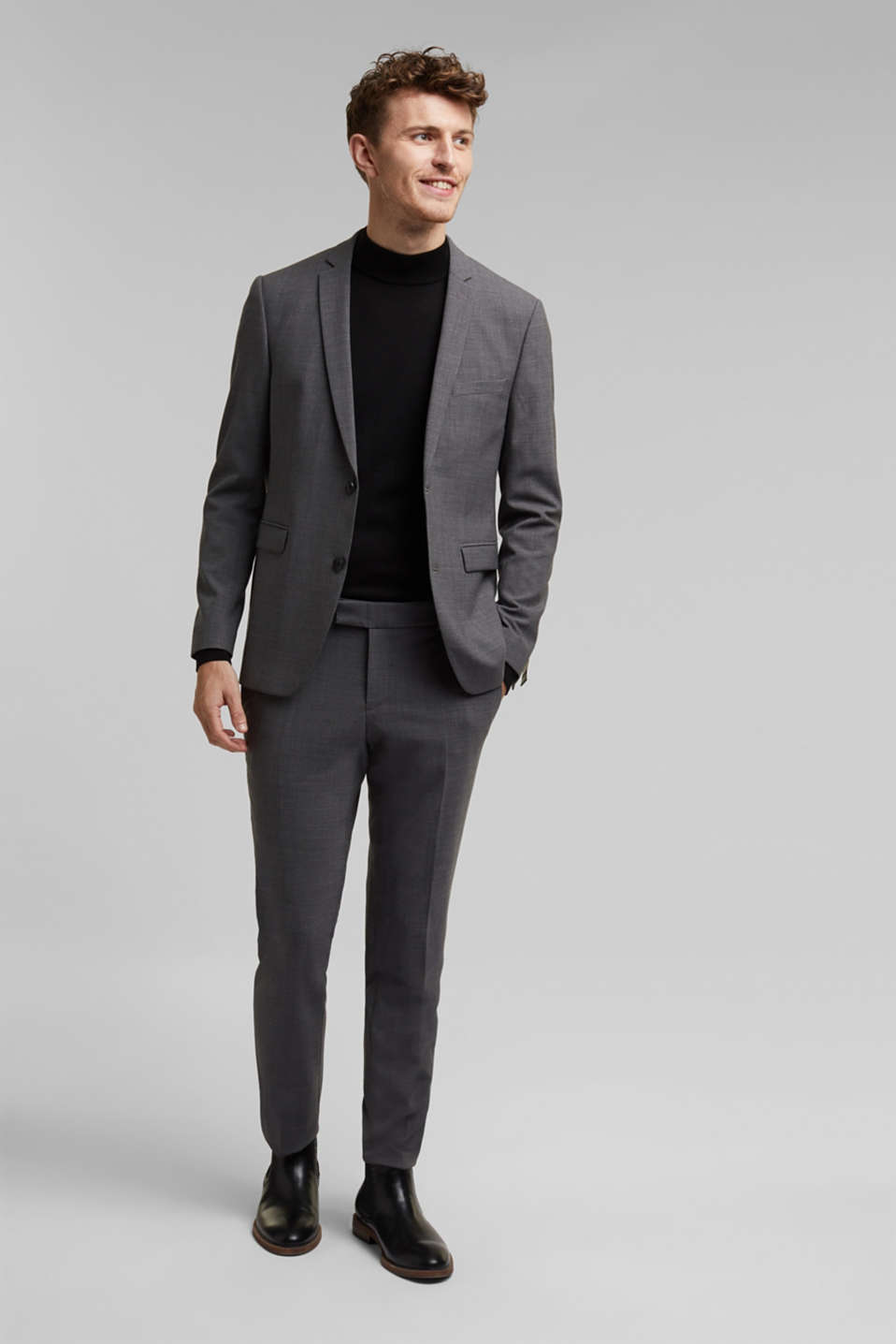 ACTIVE SUIT BLACK trousers made of blended wool, DARK GREY 5, detail image number 2