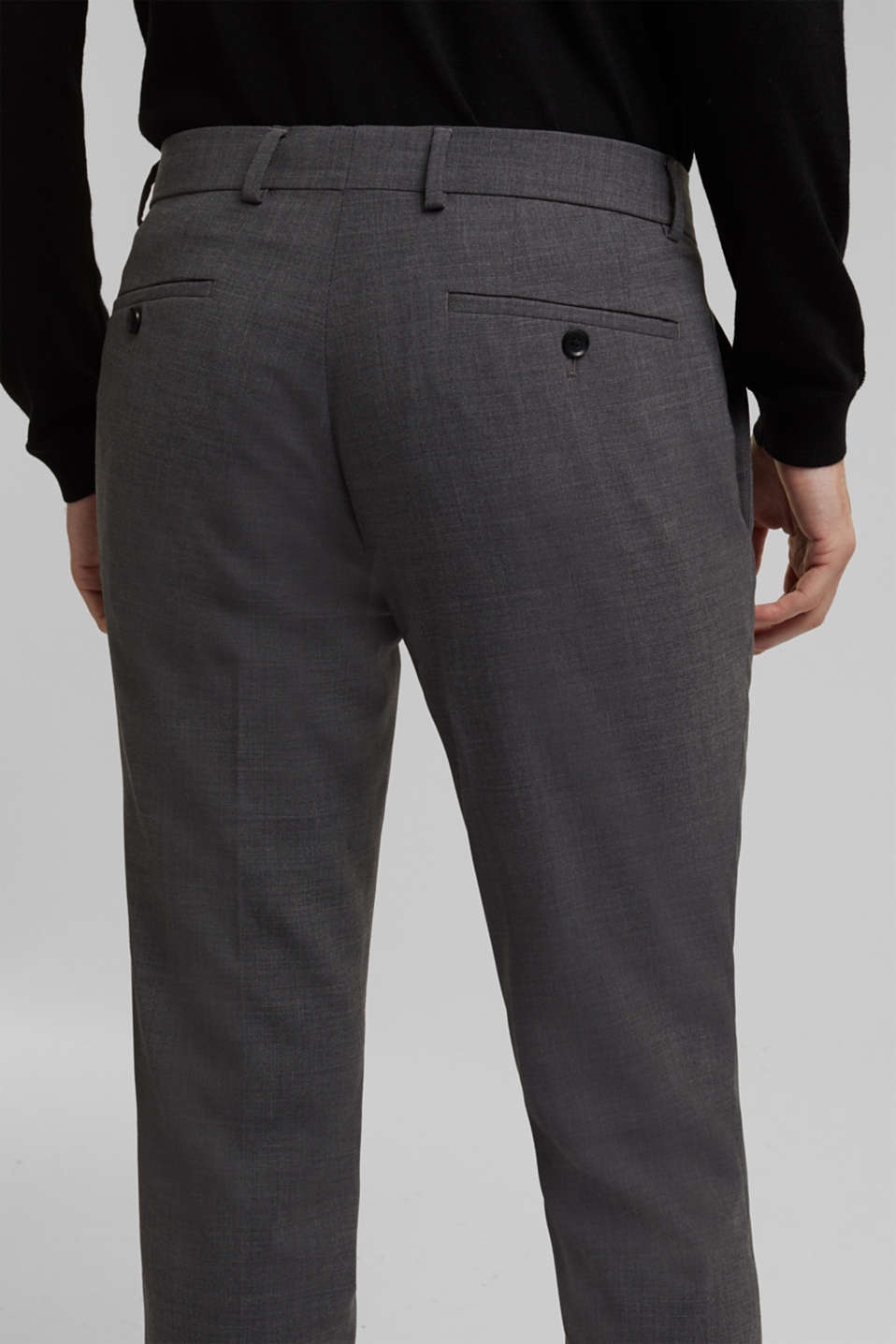 ACTIVE SUIT BLACK trousers made of blended wool, DARK GREY 5, detail image number 3