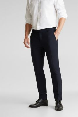 ACTIVE SUIT BLACK trousers made of blended wool, DARK BLUE, detail
