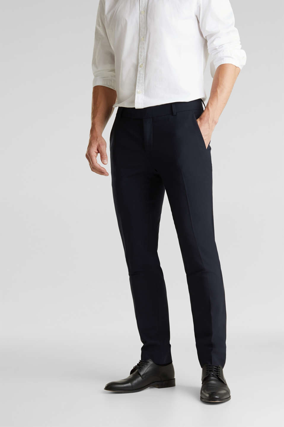Esprit - ACTIVE SUIT BLACK trousers made of blended wool