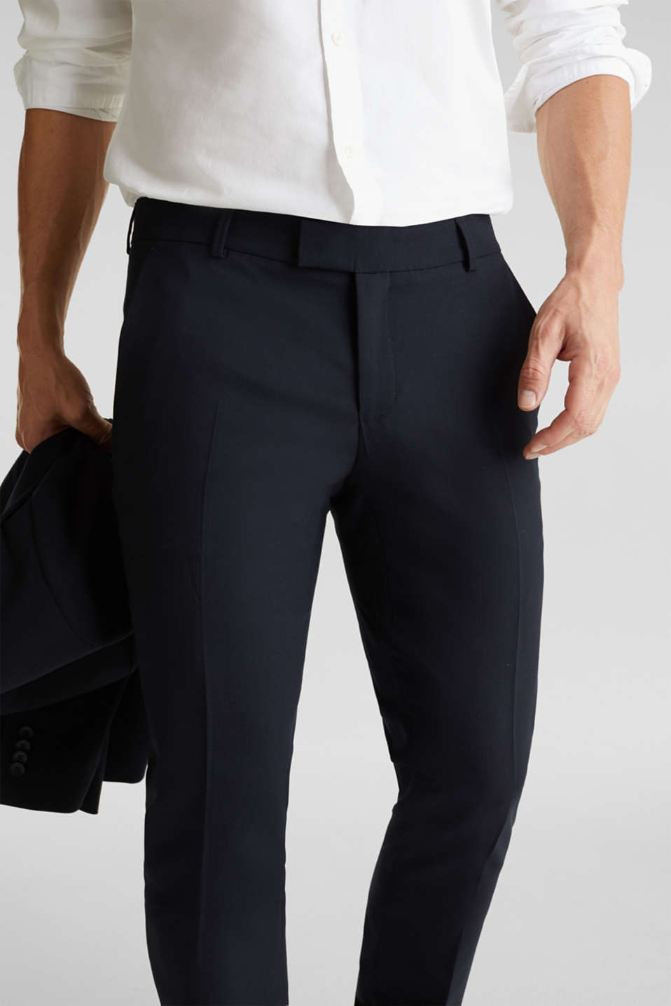ACTIVE SUIT BLACK trousers made of blended wool, DARK BLUE, detail image number 2