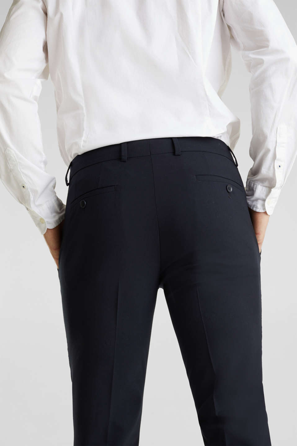 ACTIVE SUIT BLACK trousers made of blended wool, DARK BLUE, detail image number 4