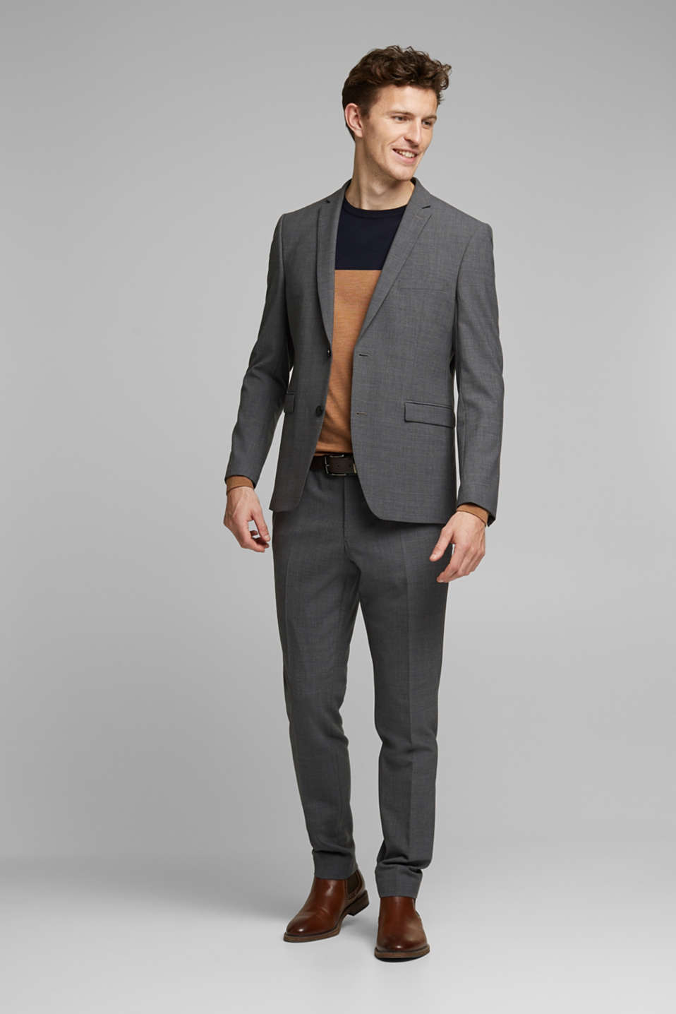 ACTIVE SUIT trousers made of blended wool, DARK GREY 5, detail image number 2
