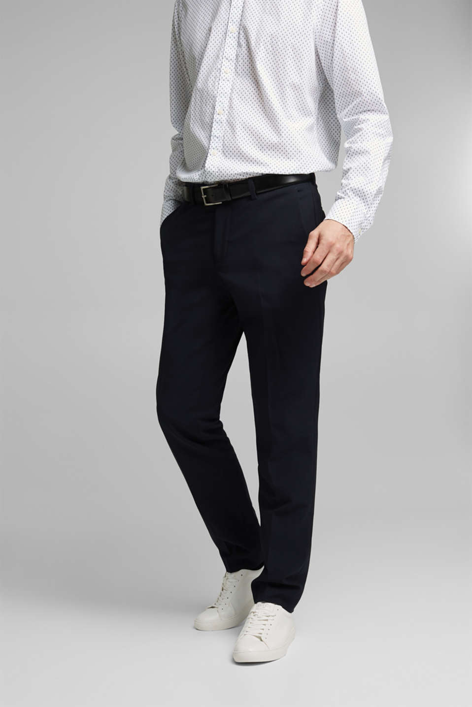 Esprit - ACTIVE SUIT trousers made of blended wool