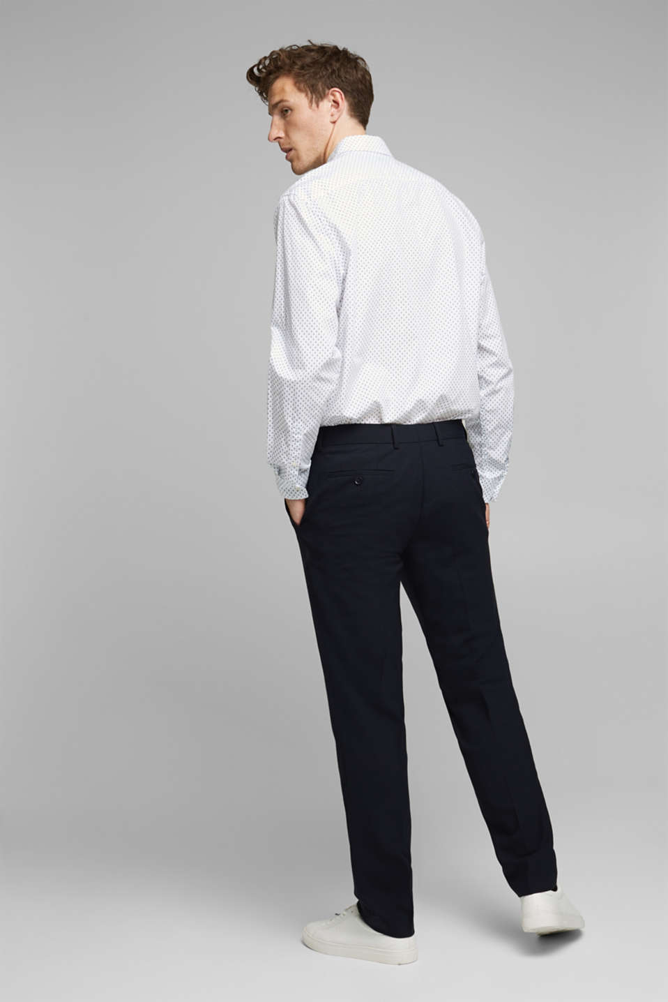 ACTIVE SUIT trousers made of blended wool, DARK BLUE, detail image number 1