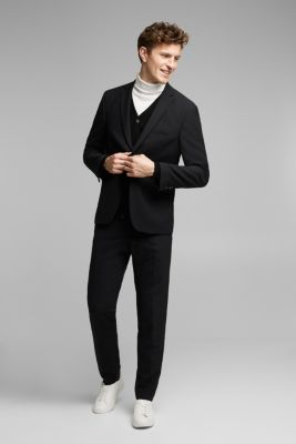 ACTIVE SUIT trousers made of blended wool, BLACK, detail