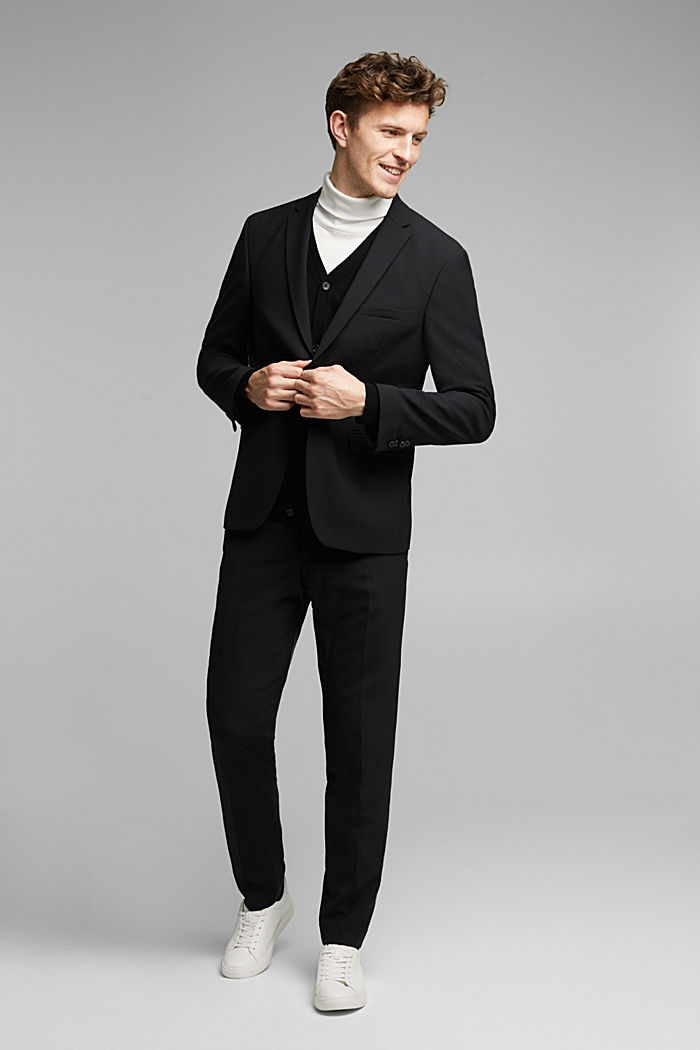 ACTIVE SUIT trousers made of blended wool, BLACK, detail image number 2