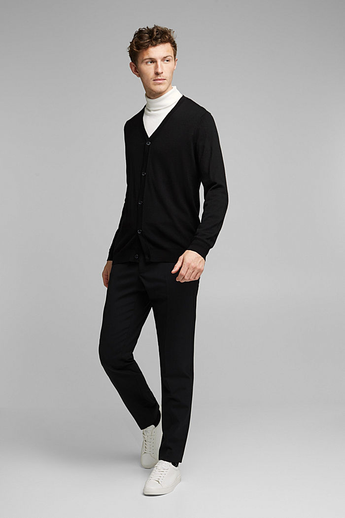 ACTIVE SUIT trousers made of blended wool, BLACK, detail image number 7