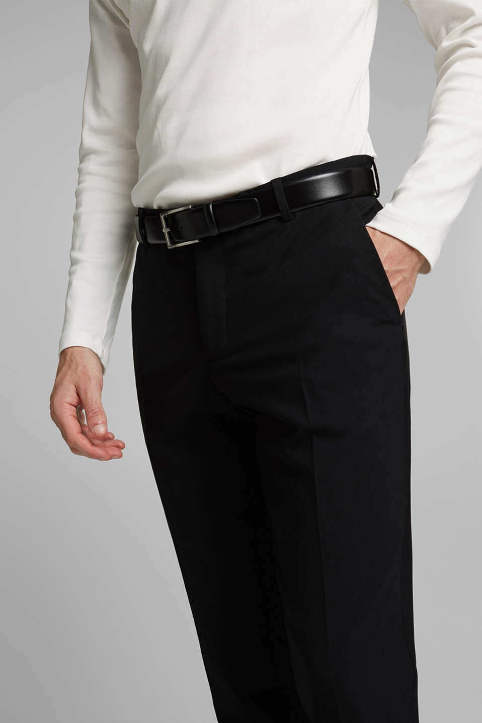 ACTIVE SUIT trousers made of blended wool, BLACK, detail image number 3