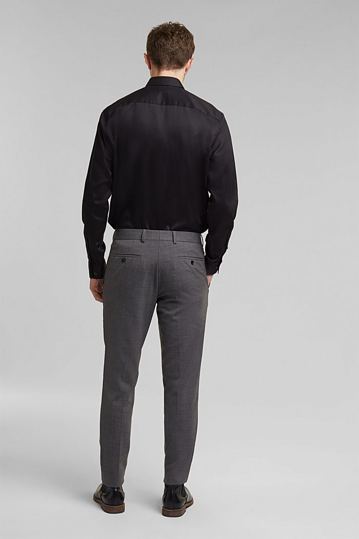 ACTIVE SUIT trousers made of blended wool, DARK GREY, detail image number 1