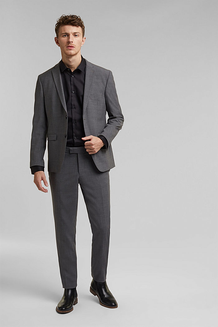 ACTIVE SUIT trousers made of blended wool, DARK GREY, detail image number 2