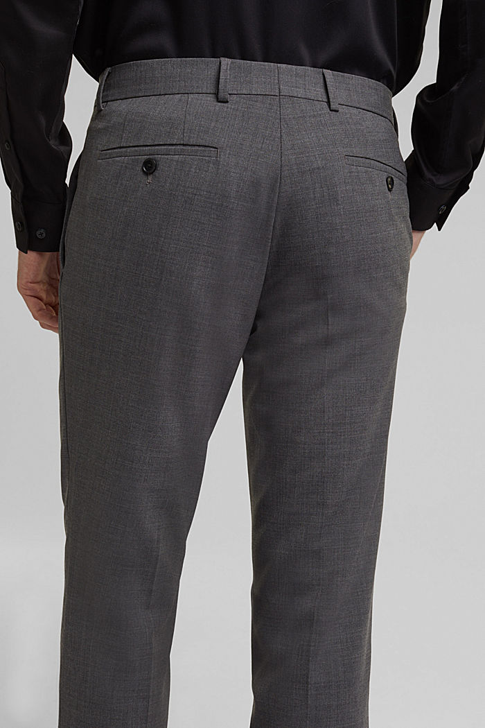 ACTIVE SUIT trousers made of blended wool, DARK GREY, detail image number 3