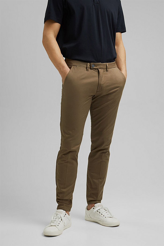 Stretch chinos with organic cotton, BEIGE, detail image number 0