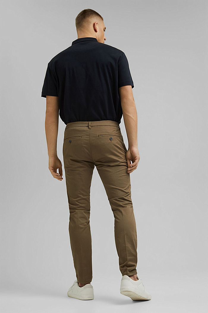 Stretch chinos with organic cotton, BEIGE, detail image number 3