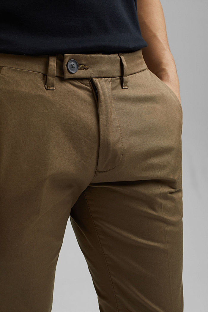 Stretch chinos with organic cotton, BEIGE, detail image number 2