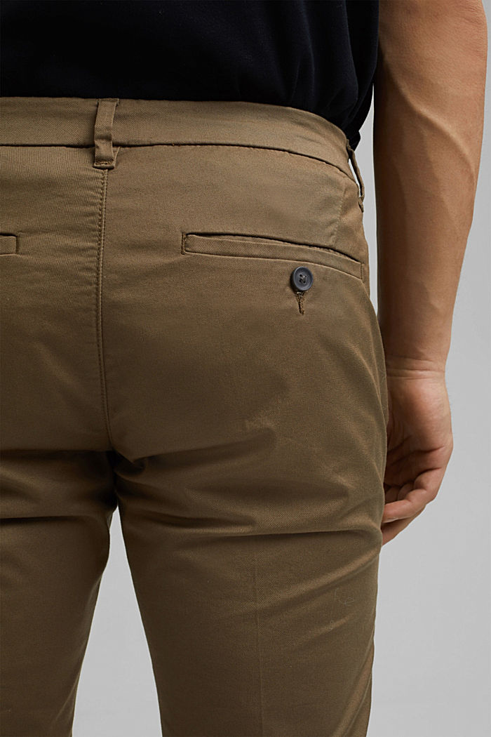 Stretch chinos with organic cotton, BEIGE, detail image number 4