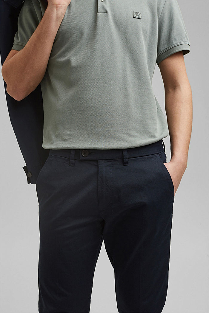 Stretch-Chino mit Organic Cotton, DARK BLUE, detail image number 2