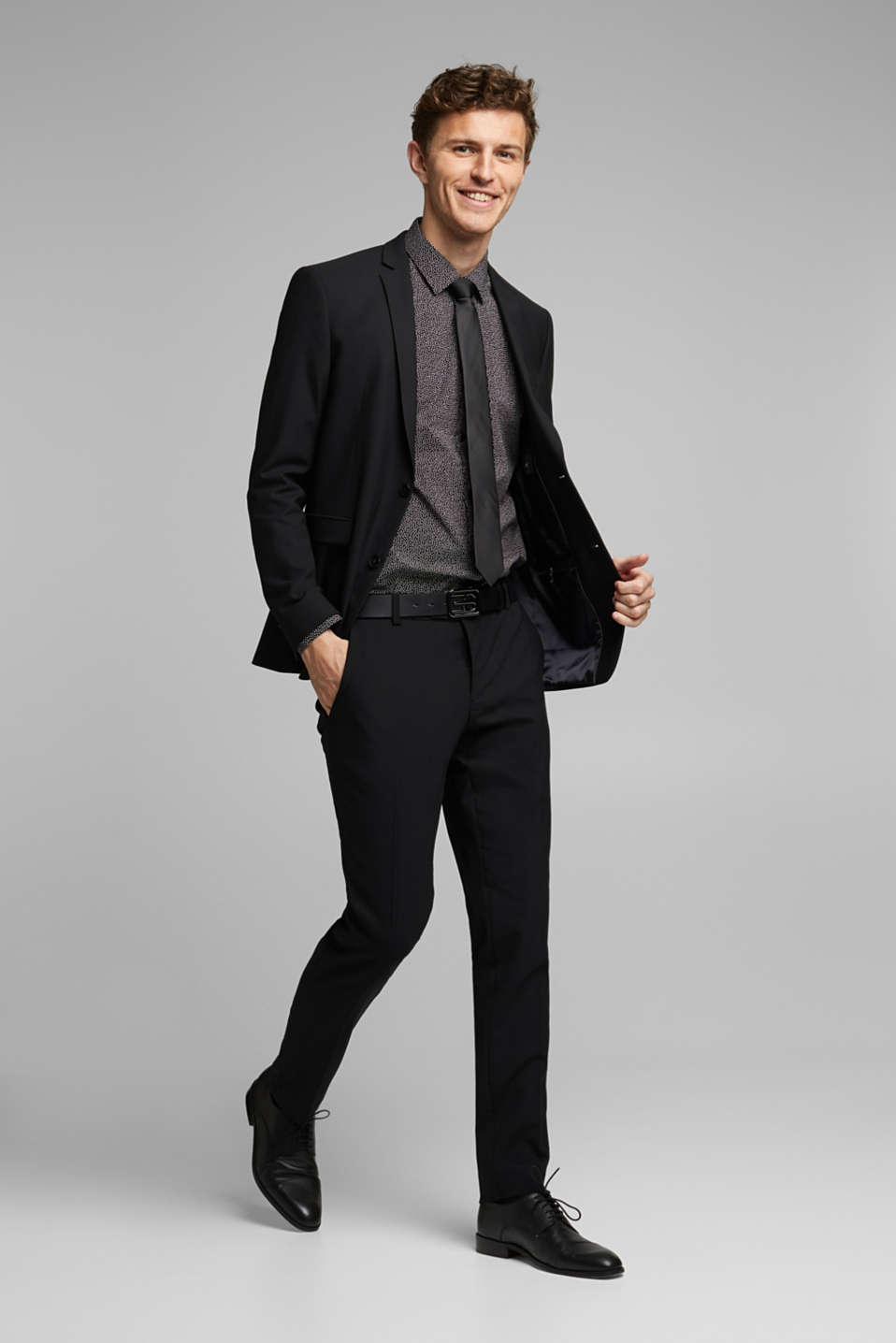 ACTIVE SUIT tailored jacket, wool blend, BLACK, detail image number 1