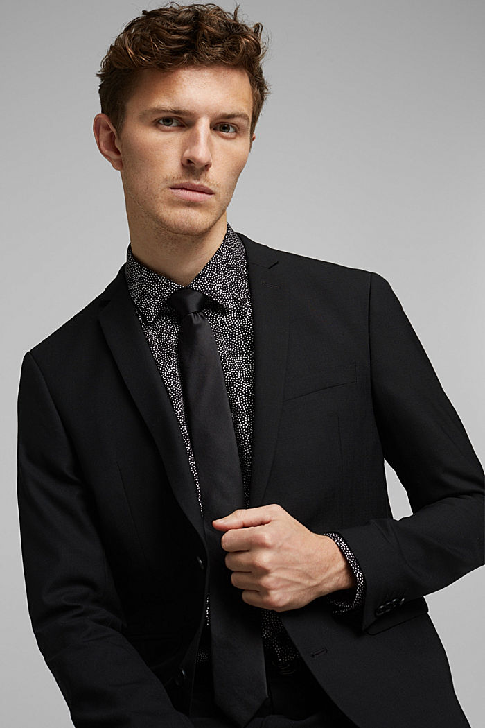 ACTIVE SUIT tailored jacket, wool blend, BLACK, detail image number 5
