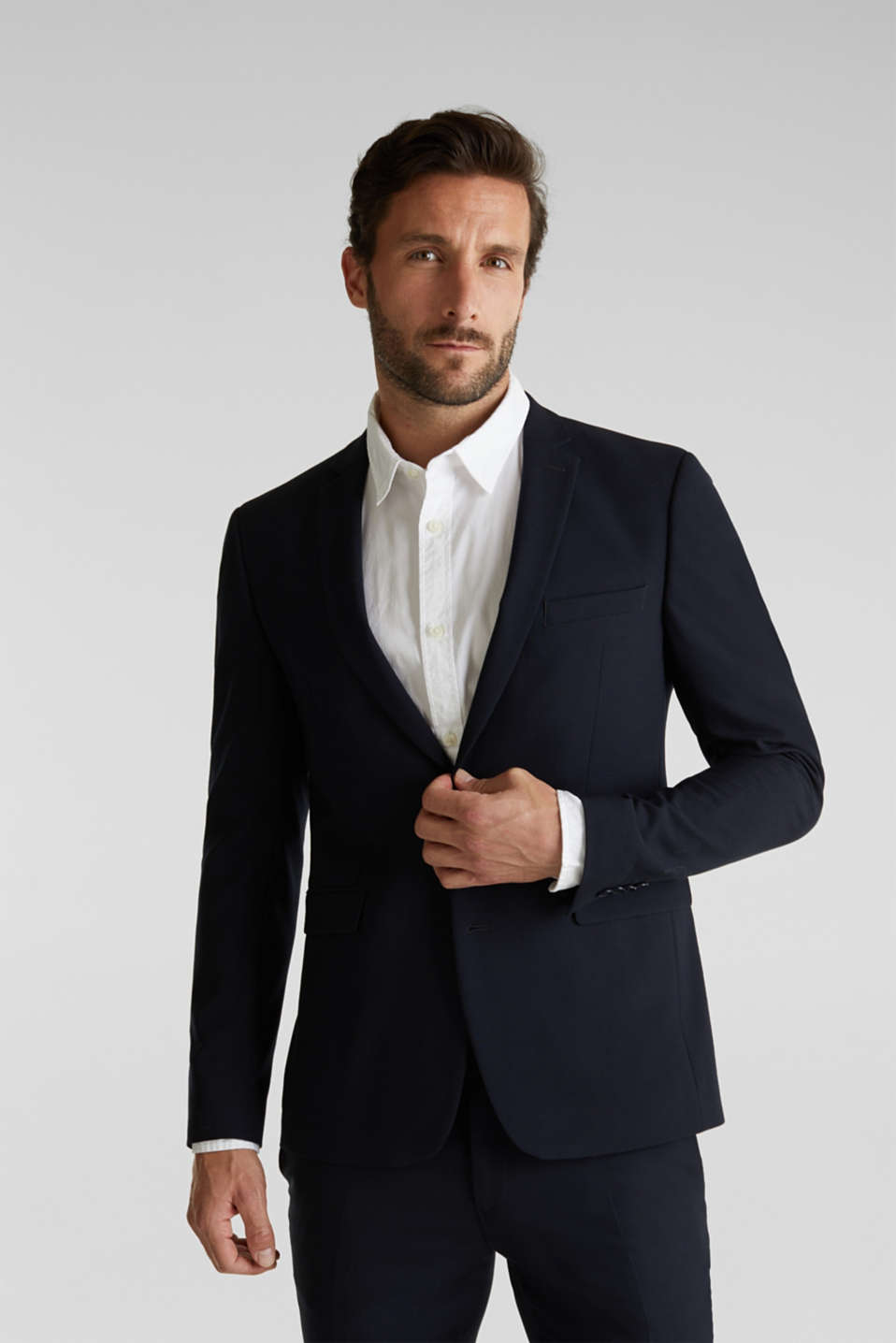 ACTIVE SUIT tailored jacket, wool blend, DARK BLUE, detail image number 0