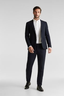 ACTIVE SUIT tailored jacket, wool blend, DARK BLUE, detail