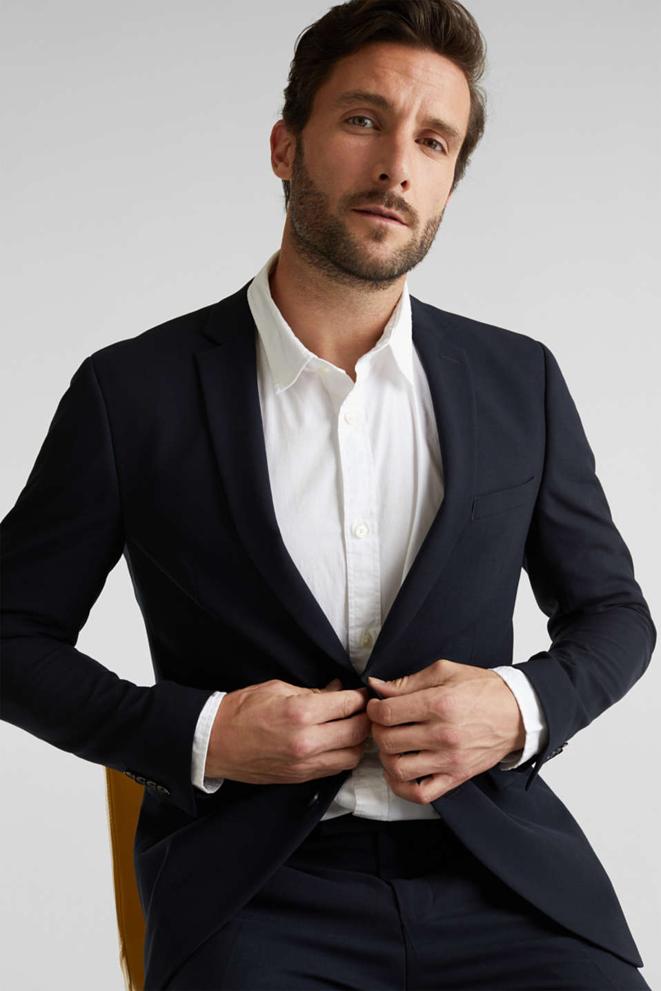 ACTIVE SUIT tailored jacket, wool blend, DARK BLUE, detail image number 5
