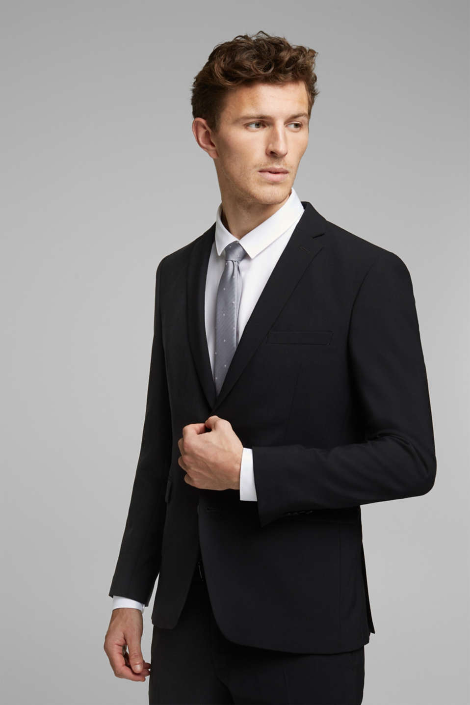 ACTIVE SUIT tailored jacket, wool blend, BLACK, detail image number 0