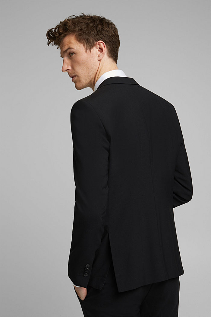 ACTIVE SUIT tailored jacket, wool blend, BLACK, detail image number 3