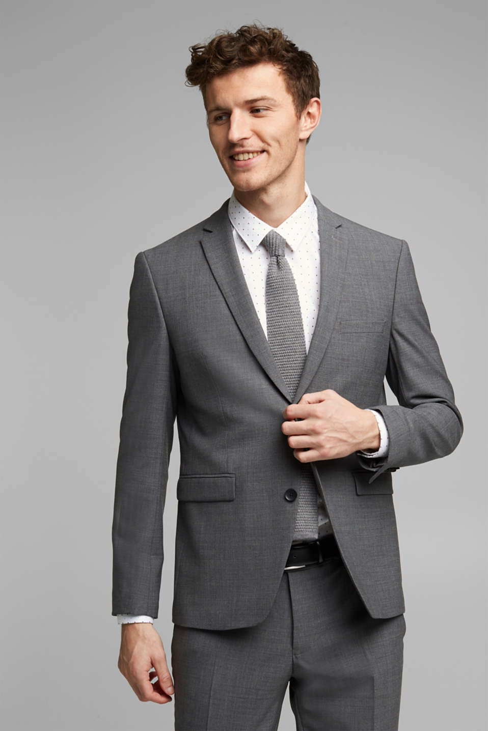 ACTIVE SUIT tailored jacket, wool blend, DARK GREY 5, detail image number 0