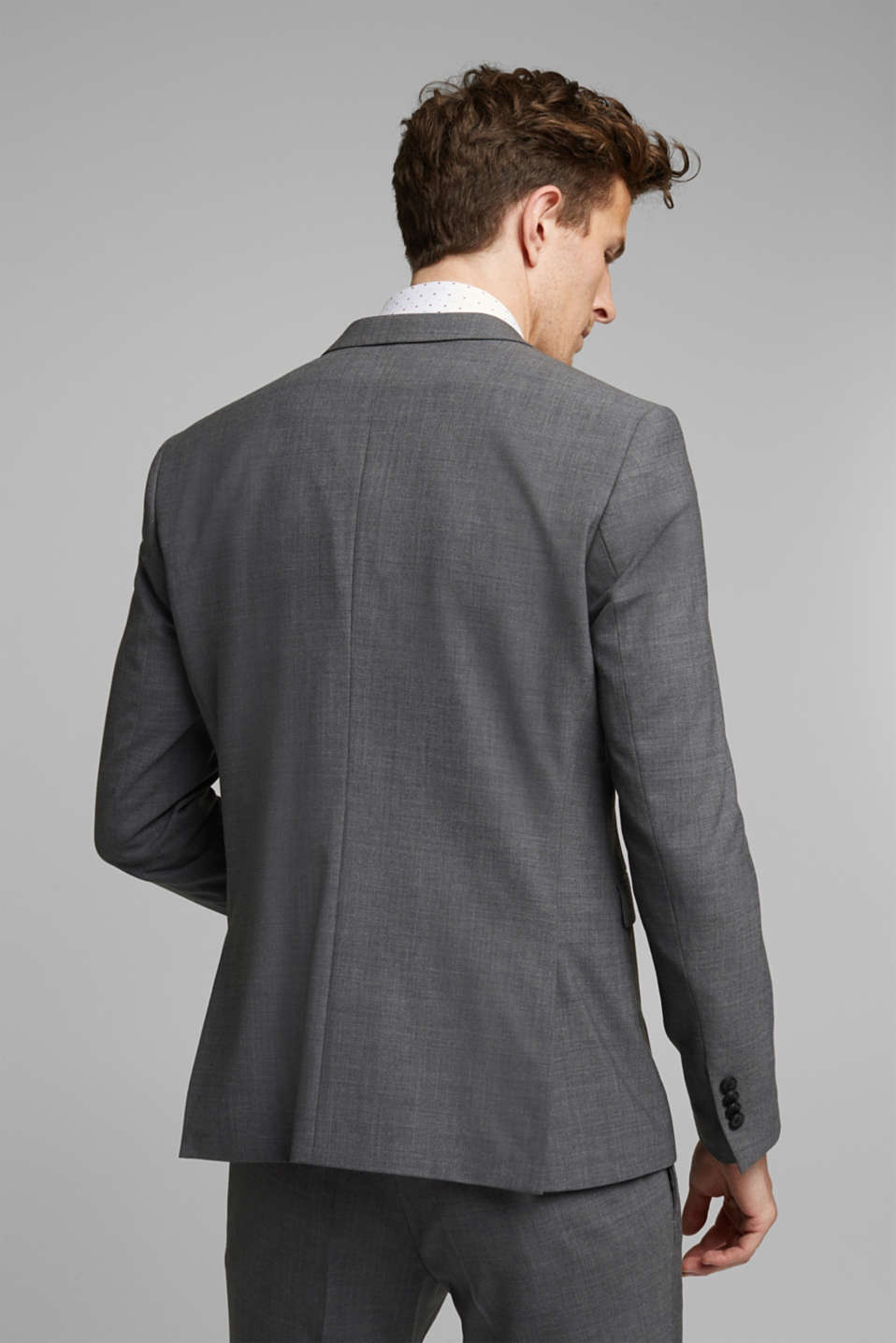 ACTIVE SUIT tailored jacket, wool blend, DARK GREY 5, detail image number 3
