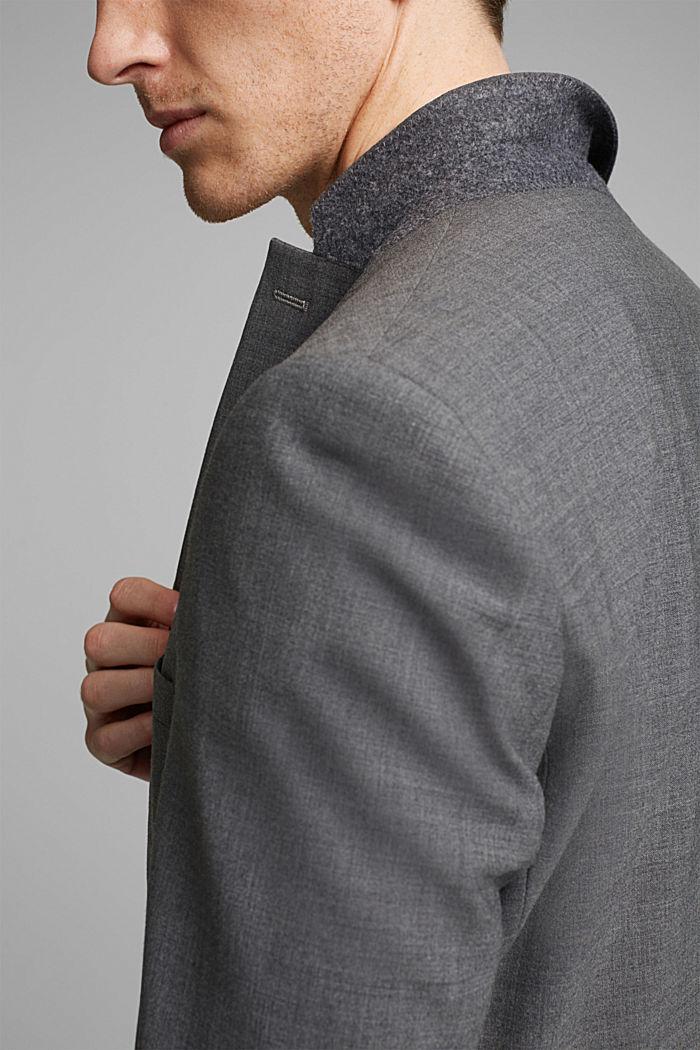 ACTIVE SUIT tailored jacket, wool blend, DARK GREY, detail image number 2