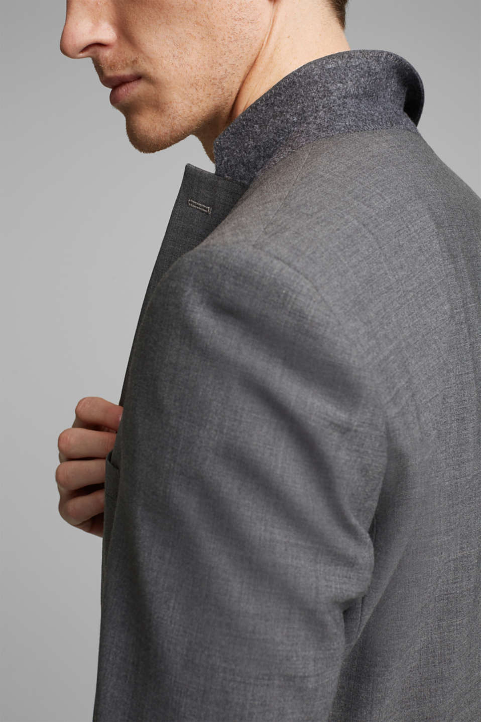 ACTIVE SUIT tailored jacket, wool blend, DARK GREY 5, detail image number 2