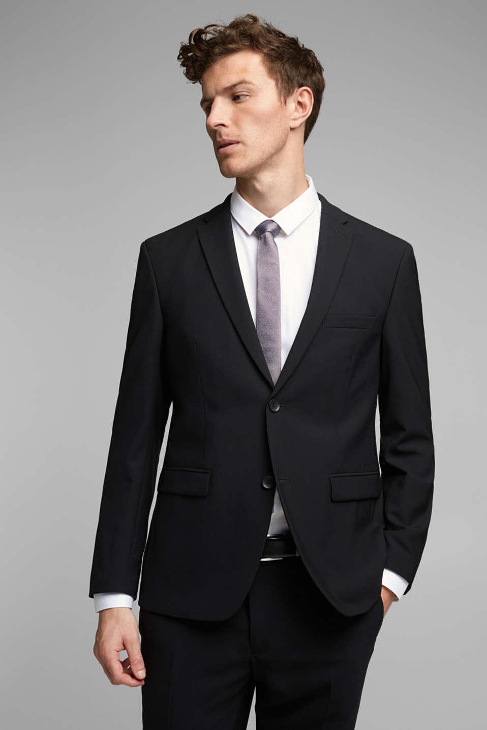 ACTIVE SUIT tailored jacket, wool blend, BLACK, detail image number 0