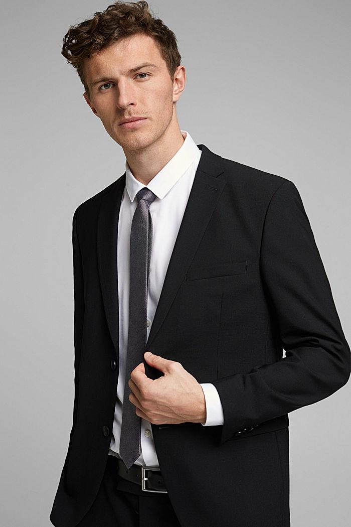ACTIVE SUIT tailored jacket, wool blend, BLACK, detail image number 4