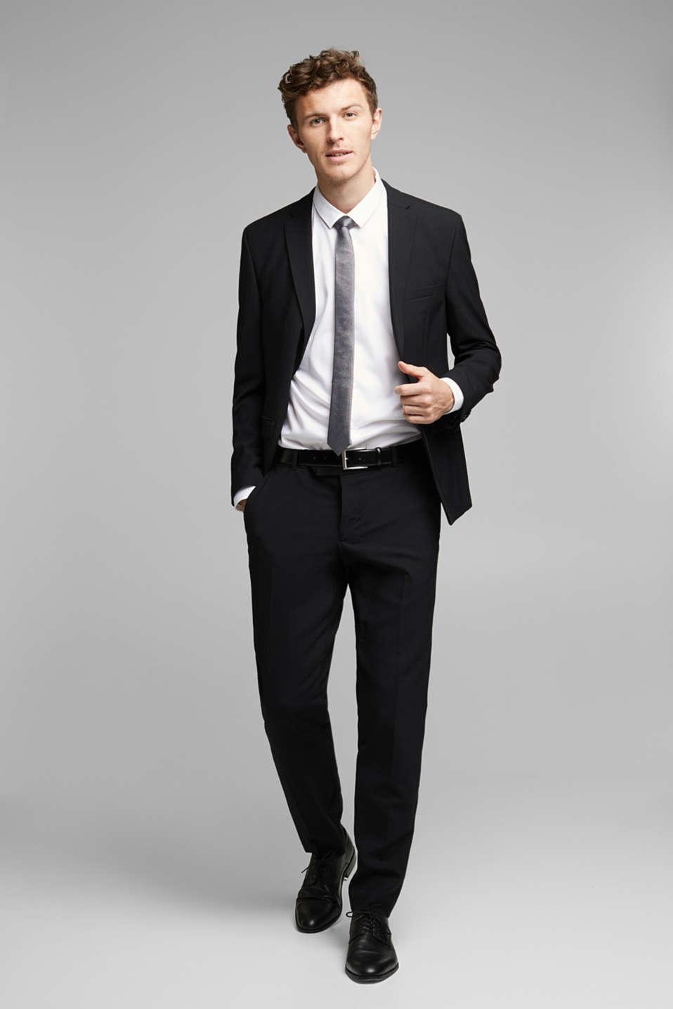 ACTIVE SUIT tailored jacket, wool blend, BLACK, detail image number 1