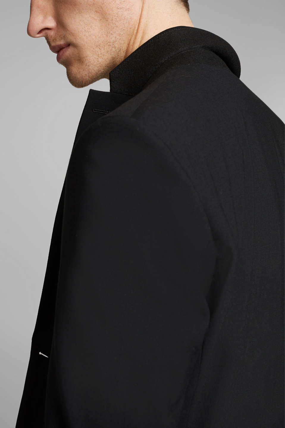 ACTIVE SUIT tailored jacket, wool blend, BLACK, detail image number 2