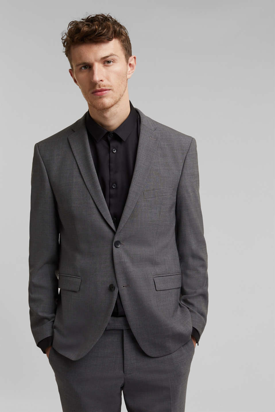 ACTIVE SUIT tailored jacket, wool blend, DARK GREY 5, detail image number 0