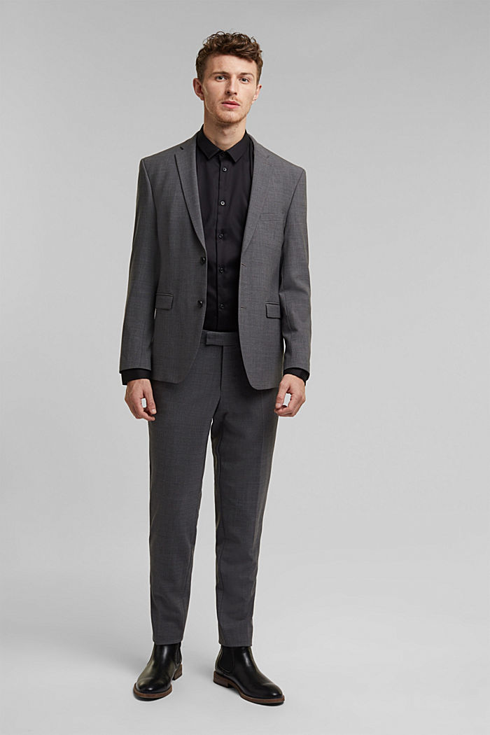 ACTIVE SUIT tailored jacket, wool blend, DARK GREY, detail image number 1