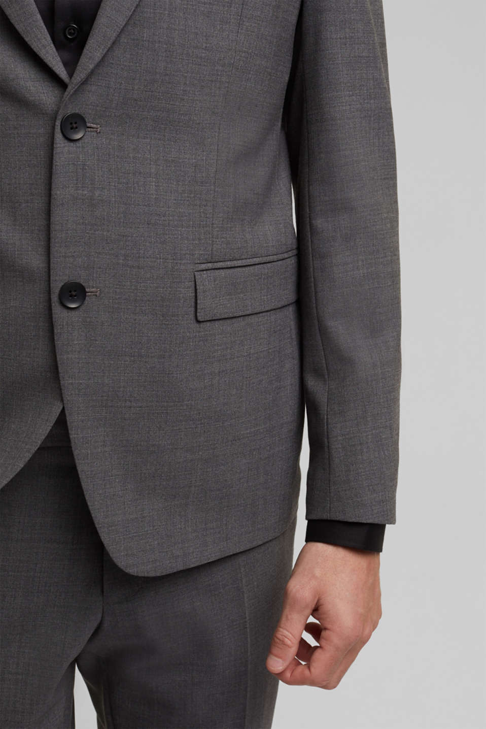 ACTIVE SUIT tailored jacket, wool blend, DARK GREY 5, detail image number 2