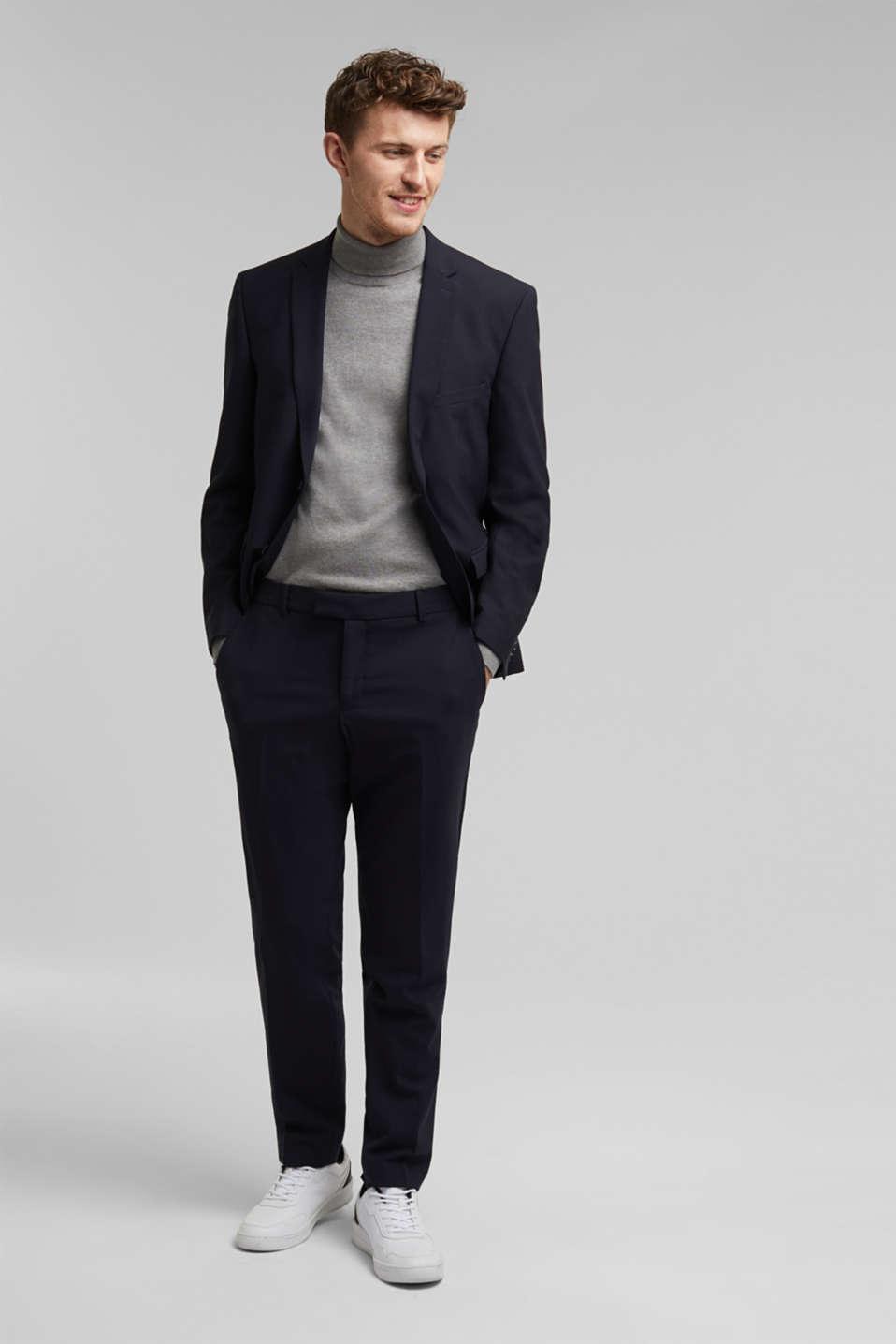 ACTIVE SUIT tailored jacket, wool blend, DARK BLUE, detail image number 1