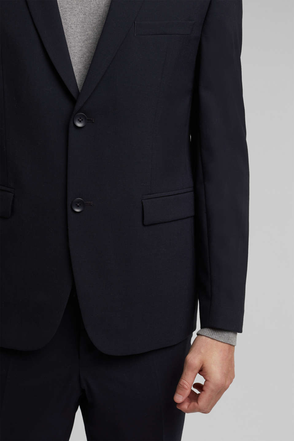 ACTIVE SUIT tailored jacket, wool blend, DARK BLUE, detail image number 2