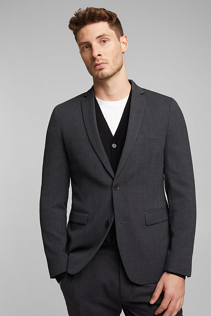 With wool: finely textured jacket, DARK GREY, detail image number 0