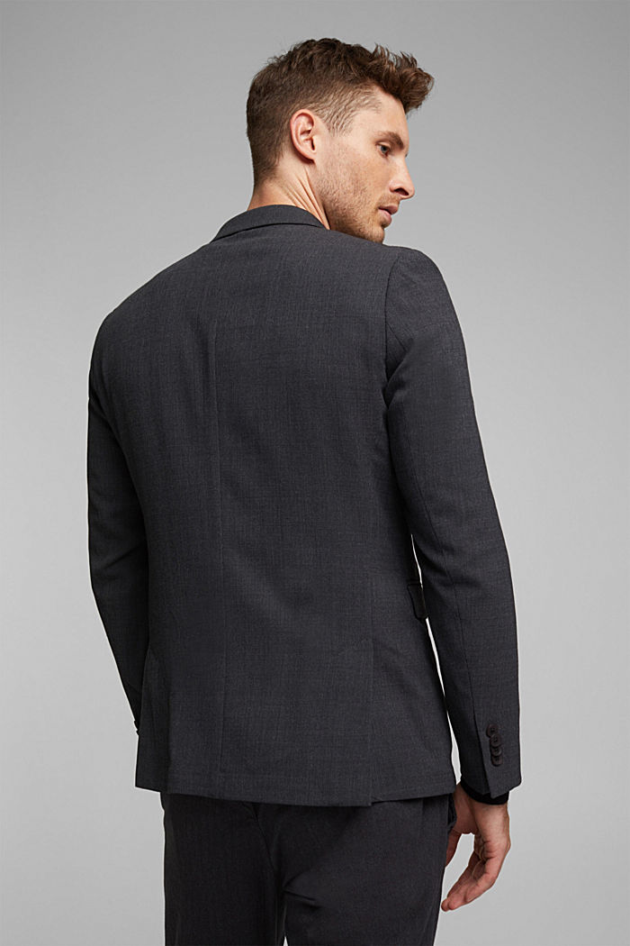 With wool: finely textured jacket, DARK GREY, detail image number 3