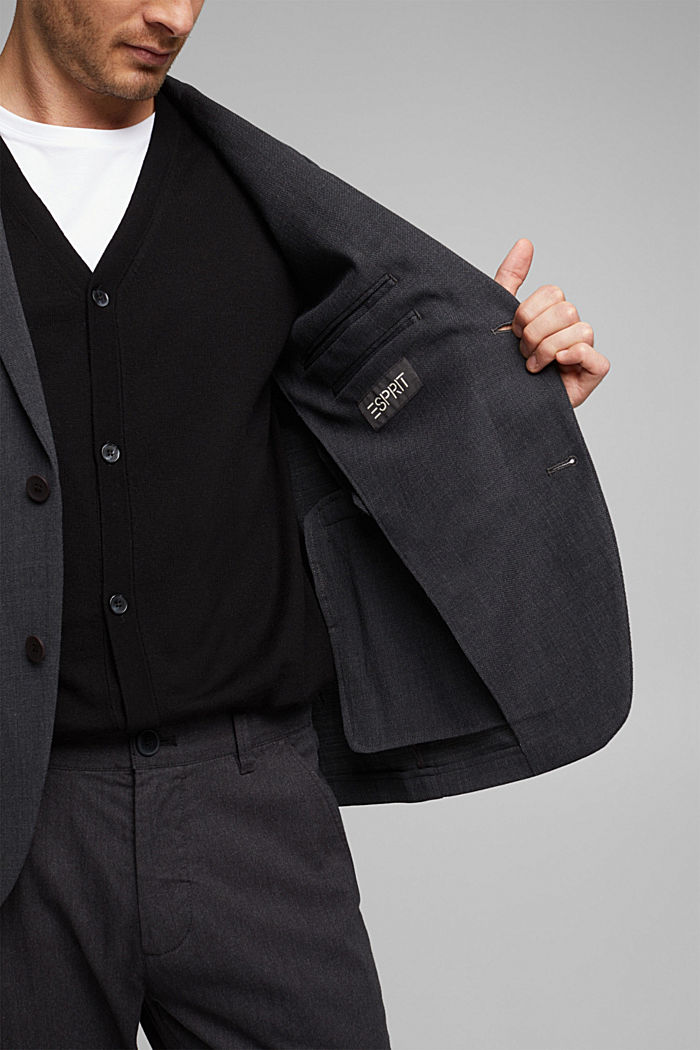 With wool: finely textured jacket, DARK GREY, detail image number 2