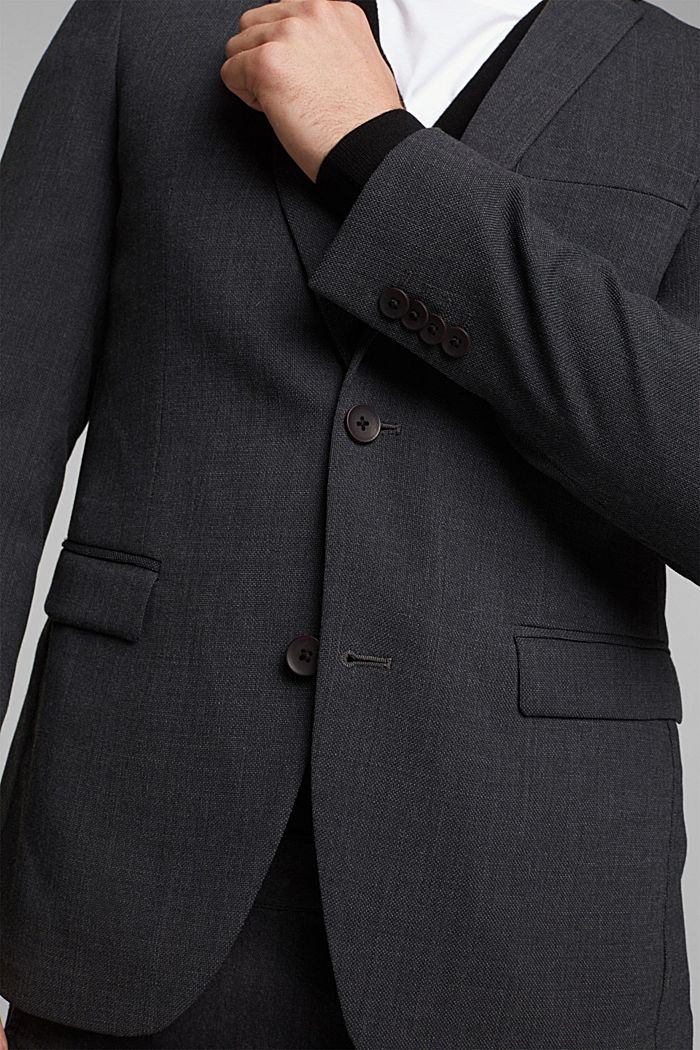 With wool: finely textured jacket, DARK GREY, detail image number 5
