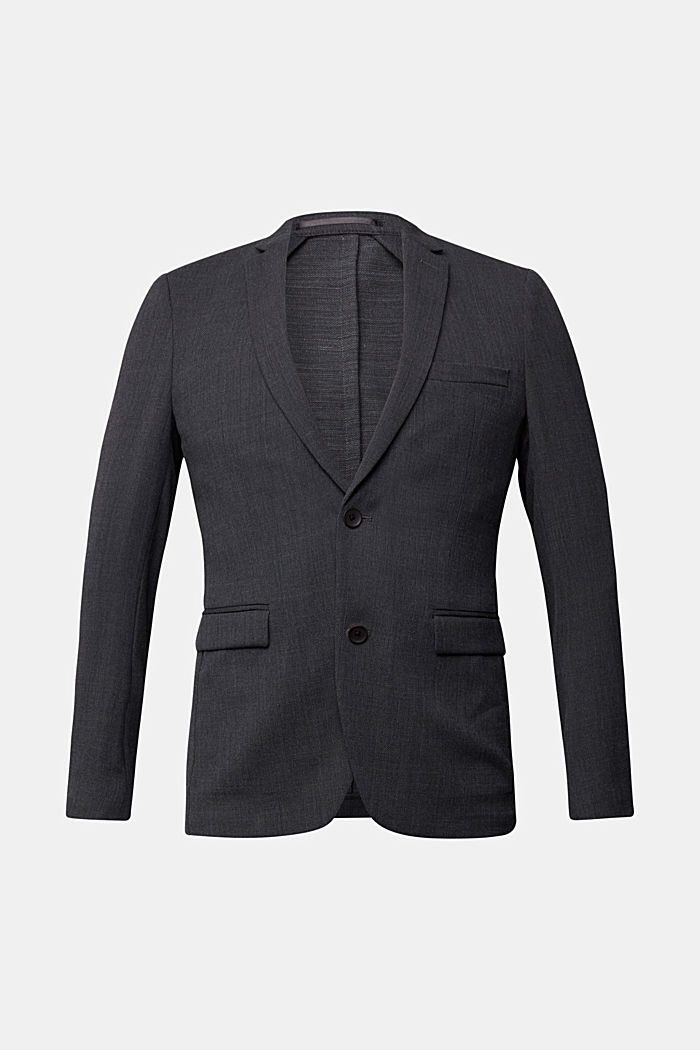 With wool: finely textured jacket, DARK GREY, detail image number 6