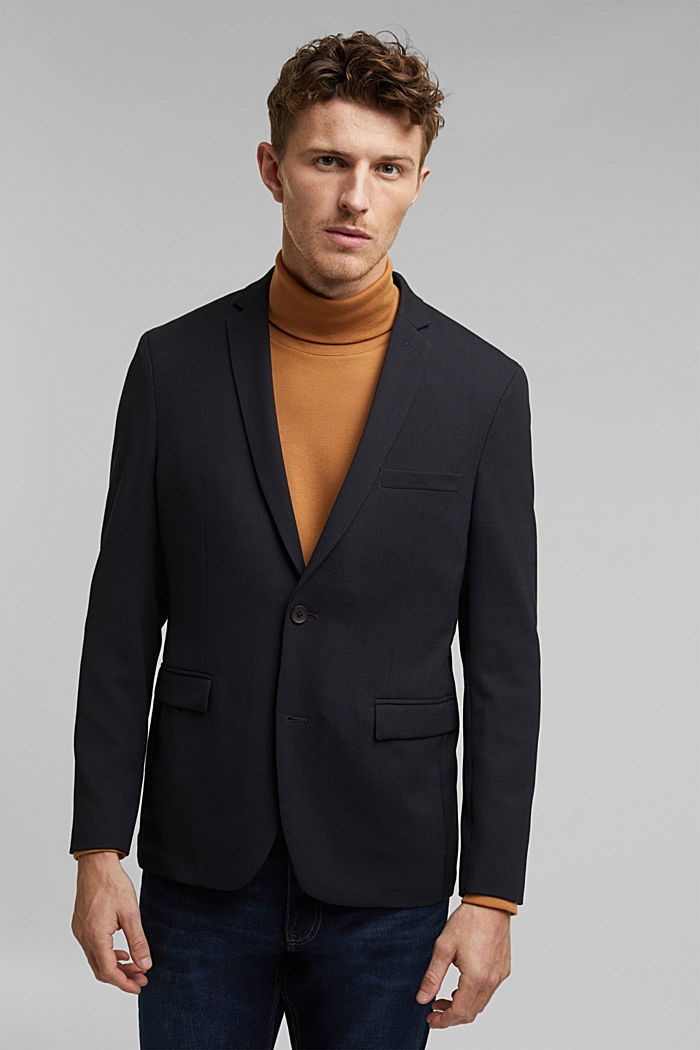 With wool: finely textured jacket, DARK BLUE, detail image number 0