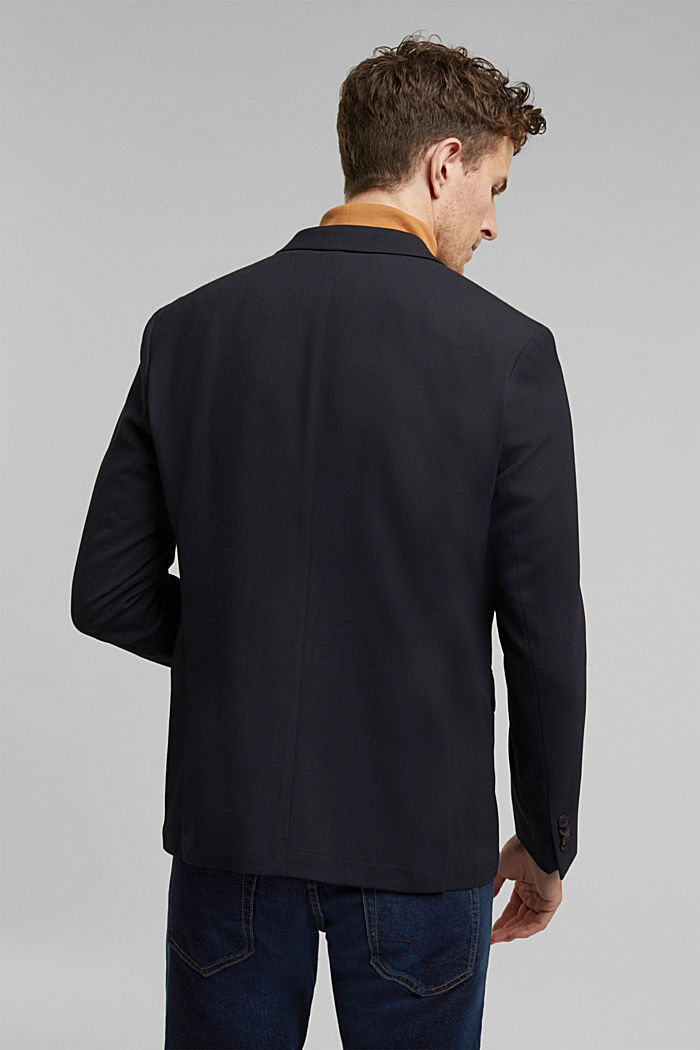 With wool: finely textured jacket, DARK BLUE, detail image number 3